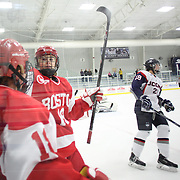 Rebecca Russo, (left), is congratulated by team mate 	Rebecca Leslie after scoring for Boston University during the UConn Vs Boston University, Women's Ice Hockey game at Mark Edward Freitas Ice Forum, Storrs, Connecticut, USA. 5th December 2015. Photo Tim Clayton