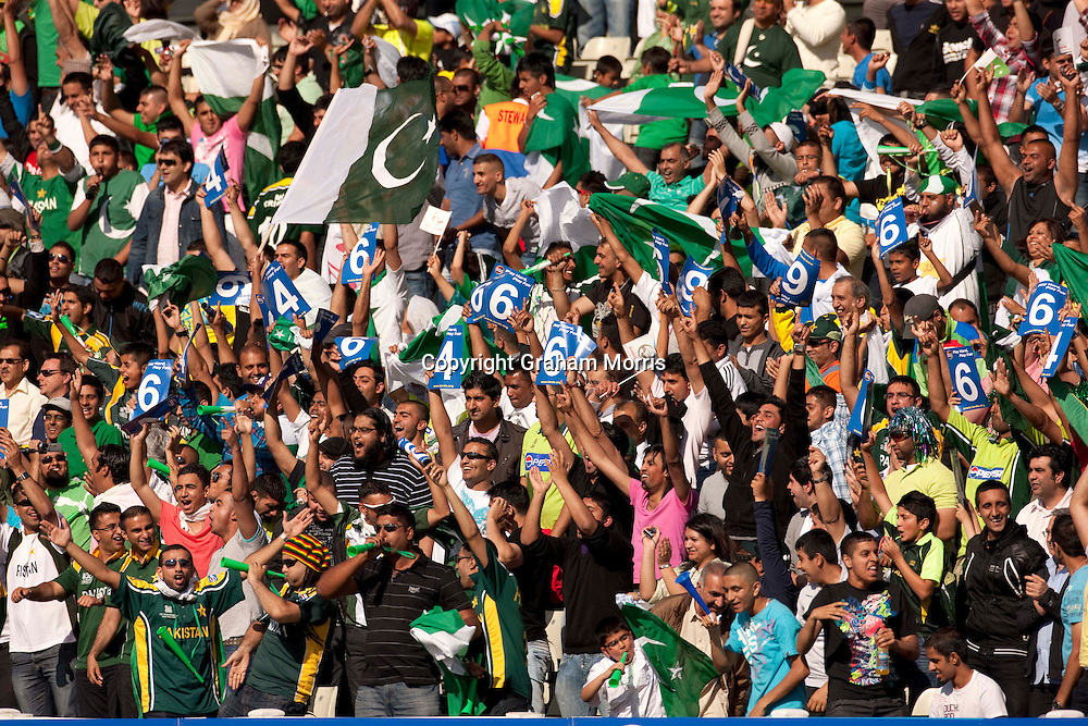 The mainly Pakistan supporting crowd celebrate a six during the first International T20 match between Australia and Pakistan at Edgbaston, Birmingham.  Photo: Graham Morris (Tel: +44(0)20 8969 4192 Email: sales@cricketpix.com) 05/07/10