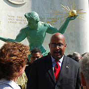 Mayor, City of Detroit, Kenneth V. Cockrel, Jr. speaks to metro Detroiters as everyone celebrates the 50th Anniversary of the restored Spirit of Detroit Statue.
