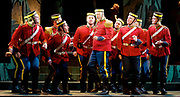 Patience <br /> by Gilbert and Sullivan<br /> English Touring Opera <br /> Hackney Empire <br /> Hackney, London, Great Britain <br /> Rehearsals <br /> 7th March 2017 <br /> <br /> <br /> Andrew Slater as Colonel Caverly <br /> and Company <br /> <br /> <br /> <br /> Photograph by Elliott Franks <br /> Image licensed to Elliott Franks Photography Services