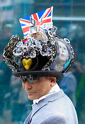 Chito Salarza Grant, wearing a Maggie hat, members of the public after the funeral at St. Paul's Cathedral in the City of London, St. Paul's Cathedral, London, UK, Wednesday 17 April, 2013, Photo by: Anthony Upton / i-Images