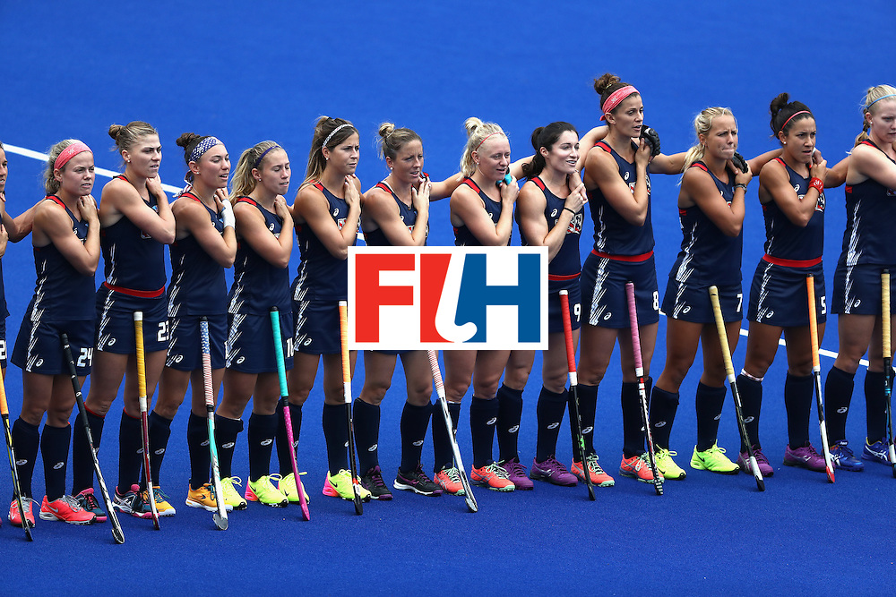 RIO DE JANEIRO, BRAZIL - AUGUST 08:  Team United States lines up for introductions against Australia during a Women's Pool B match on Day 3 of the Rio 2016 Olympic Games at the Olympic Hockey Centre on August 8, 2016 in Rio de Janeiro, Brazil.  (Photo by Sean Haffey/Getty Images)