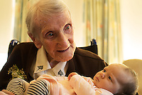 02/12/2014  Sr Sarah Jordan of the FMFD who turned 100 years young and her great great Grand Niece Annabella Mary Berne(7weeks) at the Franciscian Convent in Balliansloe Galway. Photo:Andrew Downes . Photo:Andrew Downes