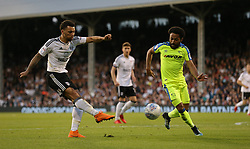 Ryan Fredericks of Fulham has a shot on goal - Mandatory by-line: Paul Terry/JMP - 14/05/2018 - FOOTBALL - Craven Cottage - Fulham, England - Fulham v Derby County - Sky Bet Championship Play-off Semi-Final