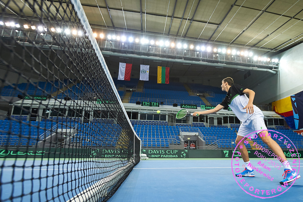 Hubert Hurkacz of Poland while his warm up during training session one day before the Davies Cup / Group I Europe / Africa 1st round tennis match between Poland and Lithuania at Orlen Arena on March 5, 2015 in Plock, Poland<br /> Poland, Plock, March 5, 2015<br /> <br /> Picture also available in RAW (NEF) or TIFF format on special request.<br /> <br /> For editorial use only. Any commercial or promotional use requires permission.<br /> <br /> Mandatory credit:<br /> Photo by &copy; Adam Nurkiewicz / Mediasport
