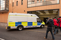 © Licensed to London News Pictures.  05/03/2015, Bristol, UK.  A police van arrives at Bristol Magistrates Court on the day that Nathan Matthews is due before magistrates charged with the murder of Rebecca Watts aged 16 who disappeared from her home a mile away in Crown Hill in the St George area of Bristol on 19 February.  Nathan Matthews is the stepbrother of Rebecca Watts. His girlfriend Shauna Hoare is charged with attempting to pervert the course of justice and is also due before magistrates today.  Five other people remain in custody on suspicion of assisting an offender.  Photo credit : Simon Chapman/LNP