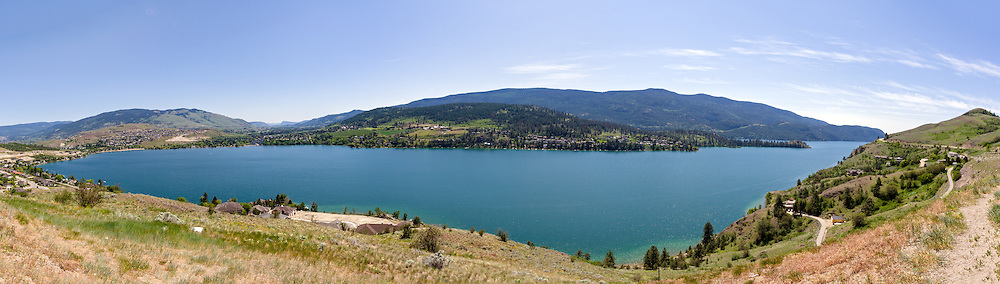 Panorama of Kalamalka Lake and Coldstream from the Coldstream Lookout in Vernon, British Columbia, Canada