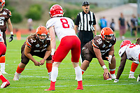 KELOWNA, BC - AUGUST 17:  JJ HEATON #62 and Danil BALAN #58 of Okanagan Sun line up against the Westshore Rebels  at the Apple Bowl on August 17, 2019 in Kelowna, Canada. (Photo by Marissa Baecker/Shoot the Breeze)