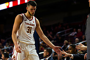 Southern California Trojans forward Nick Rakocevic (31) is congratulated as he heads to the bench during the first half of an NCAA basketball game against the South Dakota State Jackrabbits, Tuesday, Nov. 12, 2019, in Los Angeles. USC defeated South Dakota State 84-66. (Brandon Sloter/Image of Sport)