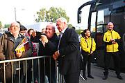 Aston Villa manager Steve Bruce arrives at the Pirelli Stadium during the EFL Sky Bet Championship match between Burton Albion and Aston Villa at the Pirelli Stadium, Burton upon Trent, England on 26 September 2017. Photo by John Potts.