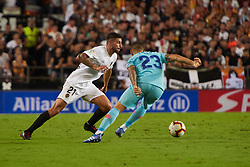 August 20, 2018 - Valencia, U.S. - VALENCIA, SPAIN  - AUGUST 20:  Piccini defender of Valencia cf competes for the ball with Vitolo midfielder of Atletico de Madrid during the La Liga between Valencia CF and Atletico de Madrid on August 20, 2018 at Mestalla in Valencia, Spain. (Photo by Carlos Sanchez Martinez/Icon Sportswire) (Credit Image: © Carlos Sanchez Martinez/Icon SMI via ZUMA Press)