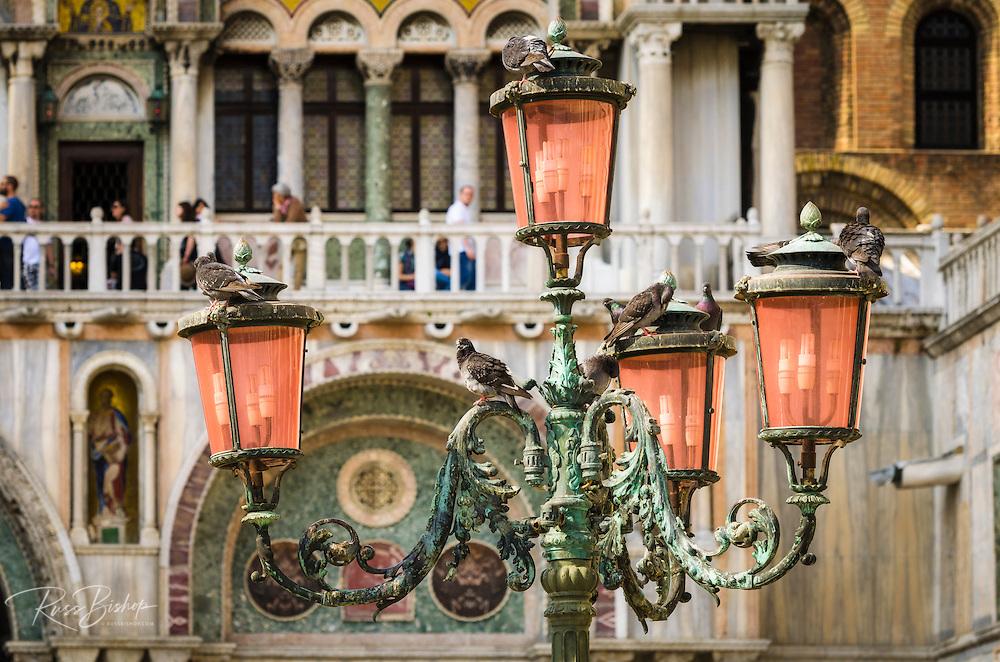 Street lamp at Basilica San Marco (Saint Mark's Cathedral), Venice, Veneto, Italy