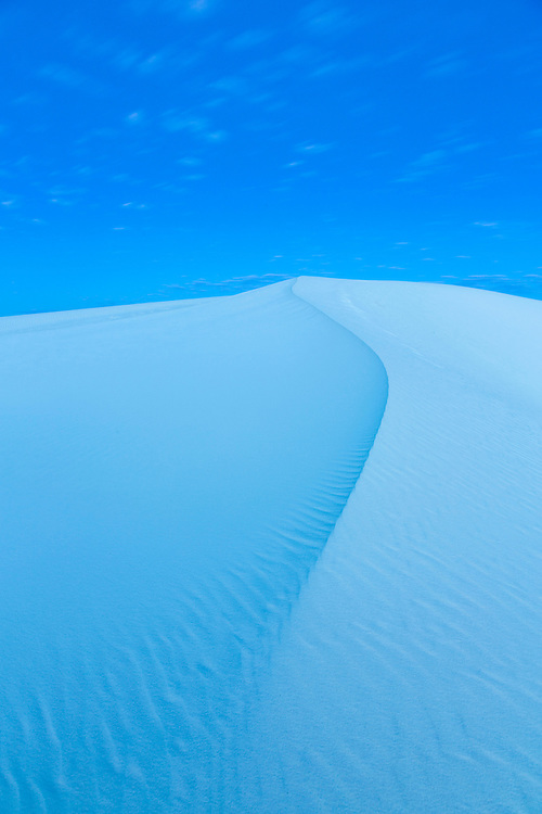 White gypsum sand dunes in morning twilight, White Sands National Monument, USA.