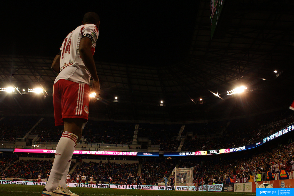Thierry Henry, New York Red Bulls, takes a corner during the New York Red Bulls V New England Revolution, Major League Soccer regular season match at Red Bull Arena, Harrison, New Jersey. USA. 20th April 2013. Photo Tim Clayton