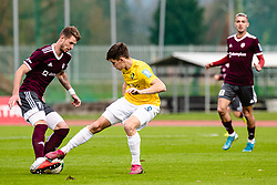 Ozbej Kuhar of NK Triglav and Zan Trontelj of NK Bravo during football match between NK Triglav Kranj and NK Bravo in 17th Round of Prva liga Telekom Slovenije 2019/20, on November 10, 2019 in Sport Park Kranj, Kranj, Slovenia. Photo Grega Valancic / Sportida