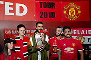 "PERTH, AUSTRALIA - JULY 13: Adam MckKola of YouTube channel ""full time devils"" interviews fans during pregame at the International soccer match between Manchester United and Perth Glory on July 13, 2019 at Optus Stadium in Perth, Australia. (Photo by Speed Media/Icon Sportswire)"