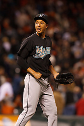 May 24, 2011; San Francisco, CA, USA;  Florida Marlins relief pitcher Leo Nunez (46) celebrates after the game against the San Francisco Giants at AT&T Park. Florida defeated San Francisco 5-1.