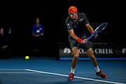 MELBOURNE, VIC - JANUARY 18: Jan-Lennard Struff of Germany plays a shot in his second round match during the 2018 Australian Open on January 18, 2018, at Melbourne Park Tennis Centre in Melbourne, Australia. (Photo by Jason Heidrich/Icon Sportswire)MELBOURNE, VIC - JANUARY 18: