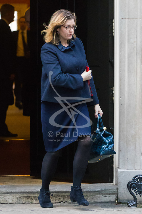 London, January 16 2018. Secretary of State for International Development Penny Mordaunt leaves the UK cabinet meeting at Downing Street. © Paul Davey
