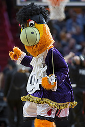 January 14, 2018 - Miami, FL, USA - Miami Heat mascot Burnie dresses up as Prince during a timeout in the second quarter of a game against the Milwaukee Bucks on Sunday, Jan. 14, 2018 at the AmericanAirlines Arena in Miami, Fla. (Credit Image: © Matias J. Ocner/TNS via ZUMA Wire)