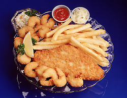 FOOD Blue plate dinner special fried filet of sole fish breaded shrimp french fries cole slaw tartar sauce  lemon wedge garnish parsley glass plate ketchup catsup
