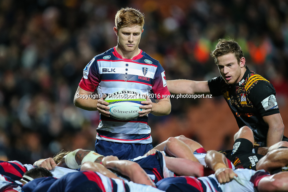 Rebels halfback Nic Stirzaker prepares to feed a scrum during the Super Rugby match - Chiefs v Rebels played at FMG Stadium Waikato, Hamilton, New Zealand on Saturday 21 May 2016. <br /> <br /> Copyright Photo: Bruce Lim / www.photosport.nz