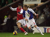 Photo: Paul Thomas.<br /> Blackburn Rovers v Arsenal. The Barclays Premiership. 13/01/2007.<br /> <br /> Robbie Savage (R) of blackburn tries to get past Cesc Fabregas.