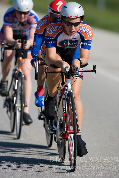 The University of Florida Gators racing in the Women's Division I team time trial. The 2007 USA Cycling Collegiate Road Championship team time trial were held in Lawrence, Kansas on May 11, 2007.