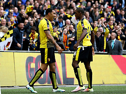 Troy Deeney of Watford celebrates scoring an equalising goal with Odion Ighalo of Watford - Mandatory by-line: Robbie Stephenson/JMP - 24/04/2016 - FOOTBALL - Wembley Stadium - London, England - Crystal Palace v Watford - The Emirates FA Cup Semi-Final