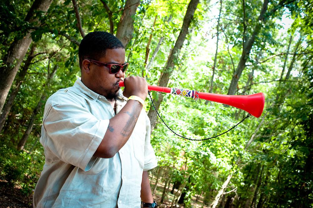 Asheru with a vuvuzela!