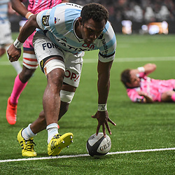Leone Nakarawa of Racing scores a try during the Top 14 match between Racing 92 and Stade francais at Paris La Defense Arena on May 5, 2019 in Nanterre, France. (Photo by Anthony Dibon/Icon Sport) - Leone NAKARAWA - Paris (France)