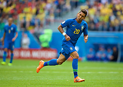 SAINT PETERSBURG, RUSSIA - Friday, June 22, 2018: Brazil's Roberto Firmino during the FIFA World Cup Russia 2018 Group E match between Brazil and Costa Rica at the Saint Petersburg Stadium. (Pic by David Rawcliffe/Propaganda)