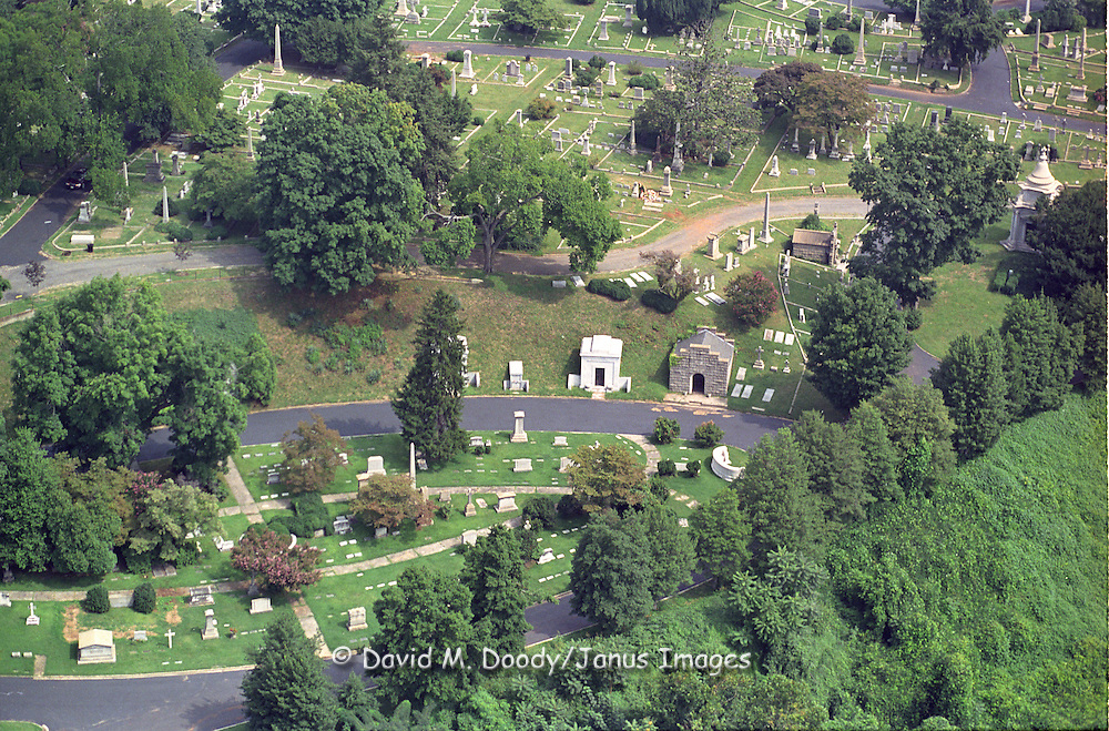 Aerial view of  historic Hollywood Cemetary in Richmond, Virginia NO PROPERTY RELEASE