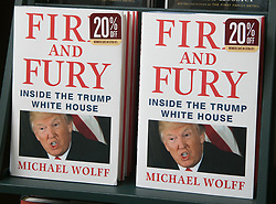 April 17, 2018 - Los Angeles, California, U.S - Copies of the book by Michael Wolff Fire and Fury on the shelves of Barnes and Noble bookstore at The Grove in Los Angeles, California. (Credit Image: © Prensa Internacional via ZUMA Wire)