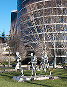 """Runners"" by David Govedare 1986 (davidgovedare.com), just south of the P-I building on Elliott Avenue West, Seattle, Washington"
