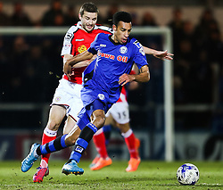 Rochdale's Rhys Bennett takes on Jamie Ness of Crewe Alexandra  - Photo mandatory by-line: Matt McNulty/JMP - Mobile: 07966 386802 - 03/03/2015 - SPORT - football - Rochdale - Spotland Stadium - Rochdale v Crewe Alexandra - Sky Bet League One