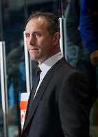 KELOWNA, CANADA - SEPTEMBER 3: Head coach Jason Smith of Kelowna Rockets  stands on the bench against the Victoria Royals on September 3, 2016 at Prospera Place in Kelowna, British Columbia, Canada.  (Photo by Marissa Baecker/Shoot the Breeze)  *** Local Caption *** Jason Smith;