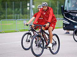 ROTTACH-EGERN, GERMANY - Friday, July 28, 2017: Liverpool's Emre Can cycles back to the team hotel after a training session at FC Rottach-Egern on day three of the preseason training camp in Germany. (Pic by David Rawcliffe/Propaganda)