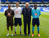Photo: Daniel Hambury.<br /> Tottenham Hotspur PC. 31/07/2006.<br /> Spurs manager Martin Jol (2nd right) with his summer signings, Benoit Assou-Ekotto (far left) Dimitar Berbatov and Didier Zukora (far right).