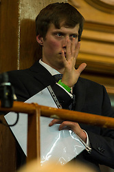 Pictured: A close watch was kept of the time the politicians had to speak.<br /> <br /> The People Politics Hustings,  organised by the Church of Scotland, allowed voters to question SNP deputy John Swinney, Scottish Labour leader Kezia Dugdale, Scottish Liberal Democrat leader Willie Rennie, Scottish Greens co-convener Patrick Harvie and former Scottish Conservatives leader Annabel Goldie ahead of the Scottish Elections. Before the politicians had a chance to speak they had a chance to listen to five speakers with different viewpoints on how Scotland has supported them in the past and how it should support them in the future..<br /> Ger Harley | EEm 4 April 2016