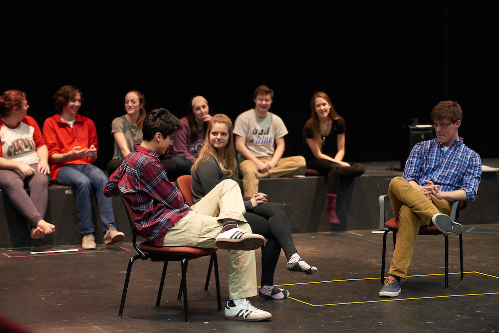 Activity; Buildings; Art; Performance; Morris Hall; Location; Inside; People; Student Students; Woman Women; Man Men; Spring; March; Type of Photography; Group; Candid; UWL UW-L UW-La Crosse University of Wisconsin-La Crosse; Improvisation theater
