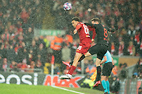 Football - 2019 / 2020 UEFA Champions League - Round of Sixteen, Second Leg: Liverpool (0) vs. Atletico Madrid (1)<br /> <br /> Liverpool's Trent Alexander-Arnold battles with Saúl Ñiguez of Atletico Madrid, at Anfield.<br /> <br /> <br /> COLORSPORT/TERRY DONNELLY
