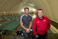 """Swimmer Ian THORPE (L) of Australia poses with his coach Guennadi Touretski, National Head Coach of Swiss Swimming, at the temporary covered 50m outdoor pool at the Centro sportivo nazionale della gioventu (""""youth and sports""""-Centre) in Tenero, Switzerland, Wednesday, March 16, 2011. Five-time Olympic gold medallist Ian Thorpe has finalised his coaching set-up ahead of next year's London Olympic Games, announcing today that he will link up with former Australian Institute of Sport Coach and Russian born Gennadi Touretski in Switzerland. (Photo by Patrick B. Kraemer / MAGICPBK)"""