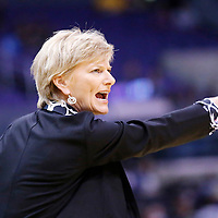 18 May 2014: Sparks coach Carol Ross is seen during the Phoenix Mercury 74-69 victory over the Los Angeles Sparks, at the Staples Center, Los Angeles, California, USA.