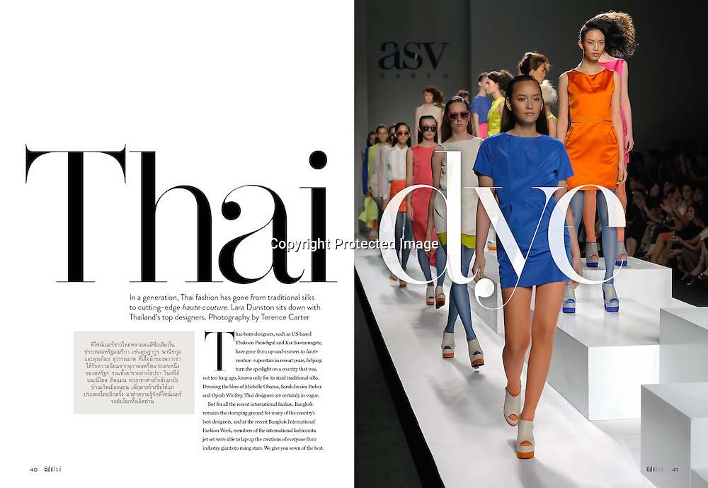 Fah Thai Magazine (Bangkok Airways) feature on Thailand's best fashion designers.