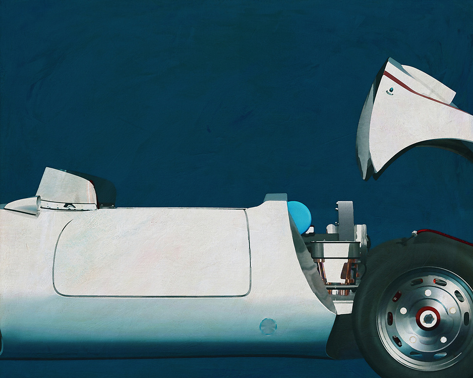 If you want to give your interior an extra stylish detail, this painting of an old racing car, Porsche 550-A Spyder from 1956, is perfect. –<br />