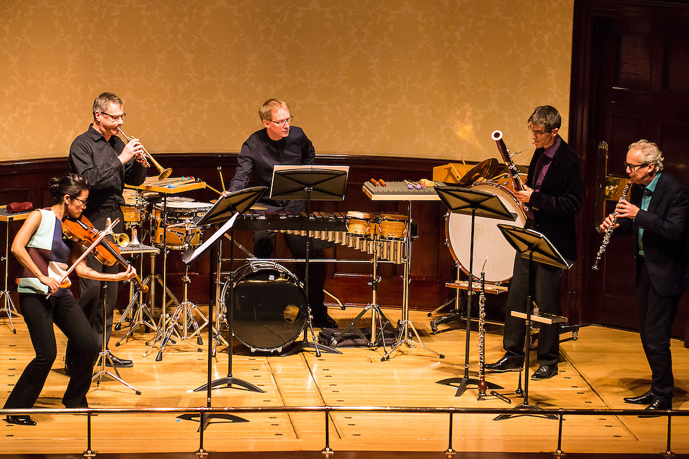 Ensemble Modern play   Piccola comedia for bassoon, oboe, trumpet, viola and percussion (world première) in a peice especially commissioned by Ensemble Modern & Wigmore Hall for Cerha Day.