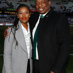 Motshidisi Mohono Supersport rugby commentator with Xola Ntshinga Supersport rugby commentator during the 2018 Castle Lager Incoming Series 2nd Test match between South Africa and England at the Toyota Stadium.Bloemfontein,South Africa. 16,06,2018 Photo by (Steve Haag JMP)