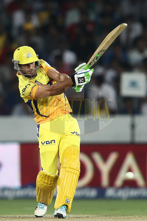 Francois Du Plessis of the Chennai Super Kings attacks a delivery during the second semi final match of the Oppo Champions League Twenty20 between the Kings XI Punjab and the Chennai Superkings held at the Rajiv Gandhi Cricket Stadium, Hyderabad, India on the 2nd October 2014<br /> <br /> Photo by:  Shaun Roy / Sportzpics/ CLT20<br /> <br /> <br /> Image use is subject to the terms and conditions as laid out by the BCCI/ CLT20.  The terms and conditions can be downloaded here:<br /> <br /> http://sportzpics.photoshelter.com/gallery/CLT20-Image-Terms-and-Conditions-2014/G0000IfNJn535VPU/C0000QhhKadWcjYs