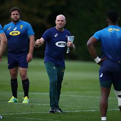 LONDON, ENGLAND - OCTOBER 29: Jacques Nienaber (Defence Coach) of South Africa during the South African national rugby team training session at Latymer Lower School on October 29, 2018 in London, England. (Photo by Steve Haag/Gallo Images)